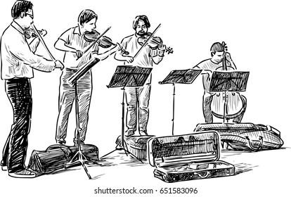 Quartet of street musicians