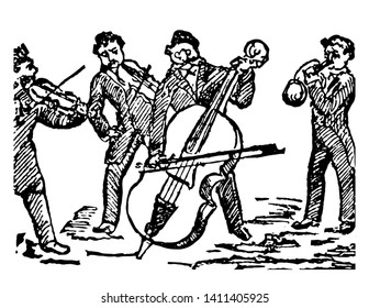 Quartet where the set of four persons who perform a piece of music in four parts, vintage line drawing or engraving illustration.