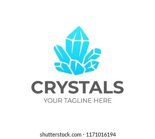 Quartz crystal cluster logo design. Amethyst vector design. Gemstone logotype