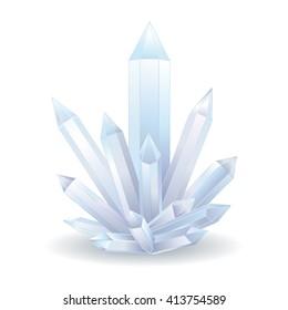 Quartz Crystal. Transparent White Crystal vector illustration. Healing stone. Light vector illustration of transparent crystal.