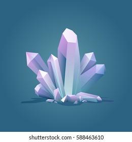 Quartz geometric crystal. Luxury color ice Crystal vector illustration. Healing stone. Gem stone vector illustration