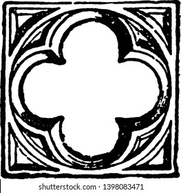 Quatrefoil is four to leaved grass vintage line drawing or engraving illustration.