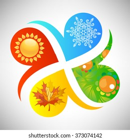 Quatrefoil logo of seasons with snowflake, sun, green and leaf