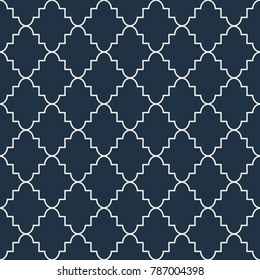 Quatrefoil seamless blue vector pattern. Geometric repeating background.