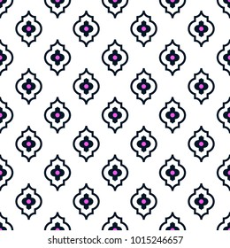 Quatrefoil seamless line vector pattern. Geometric repeating background.