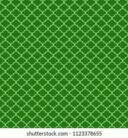 Quatrefoil Seamless Pattern - Graphic green and white quatrefoil or trellis design
