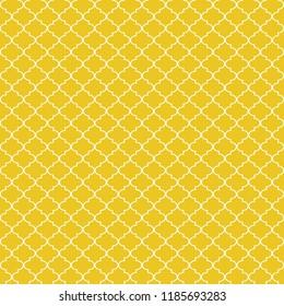 Quatrefoil Seamless Pattern - Graphic light orange and white quatrefoil or trellis design