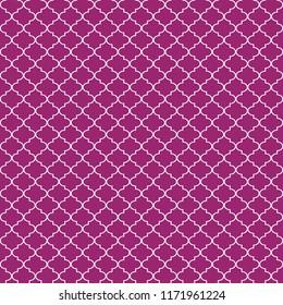 Quatrefoil Seamless Pattern - Graphic magenta pink and white quatrefoil or trellis design