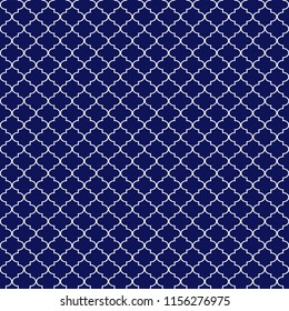 Quatrefoil Seamless Pattern - Graphic navy blue and white quatrefoil or trellis design