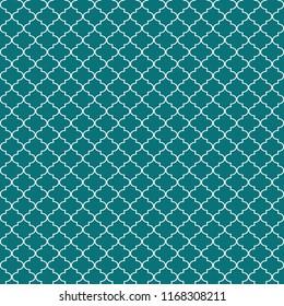 Quatrefoil Seamless Pattern - Graphic teal and white quatrefoil or trellis design