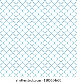 Quatrefoil Seamless Pattern - Minimalist light blue and white quatrefoil or trellis design