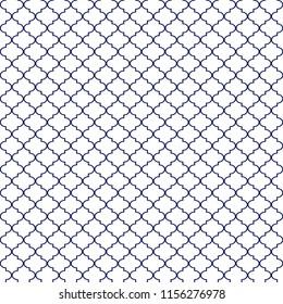 Quatrefoil Seamless Pattern - Minimalist navy blue and white quatrefoil or trellis design