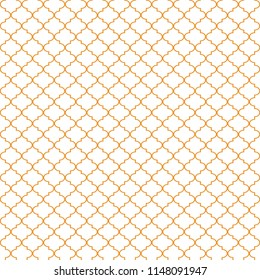 Quatrefoil Seamless Pattern - Minimalist orange and white quatrefoil or trellis design