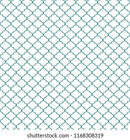Quatrefoil Seamless Pattern - Minimalist teal and white quatrefoil or trellis design
