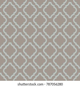 Quatrefoil seamless taupe vector pattern. Geometric repeating background.