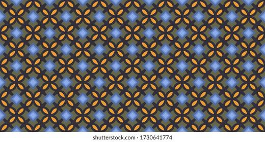 Quatrefoil shape lattice elegant check design. Wax print block for apparel textile, ladies dress fabric, mens shirt, fashion garment, wrapping cloth, swimwear. Minimal small squares retro illustration