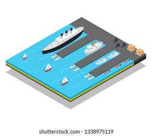 Quay concept banner. Isometric banner of quay vector concept for web, giftcard and postcard
