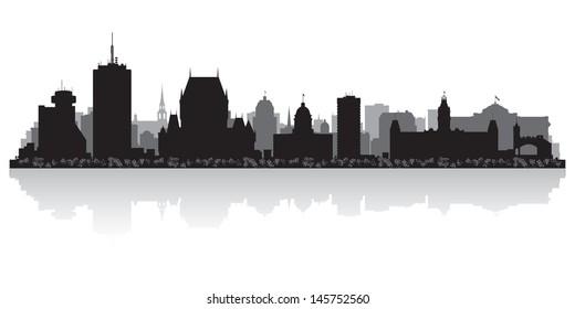 Quebec Canada city skyline silhouette vector illustration