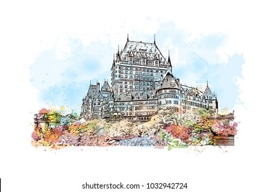 Quebec, Canadian Province in eastern Canada. Watercolor splash with Hand drawn sketch illustration in vector.