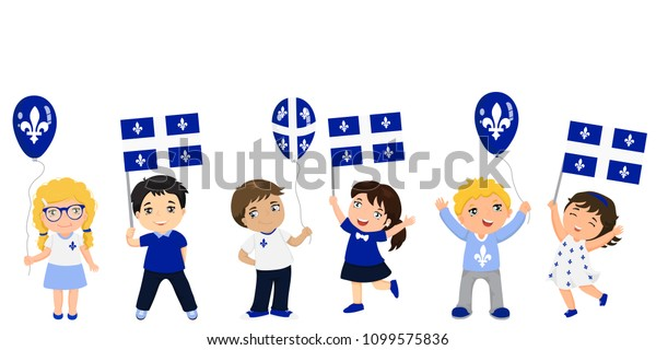 Quebec Children Flags Balloons Graphic Design Stock Vector (Royalty