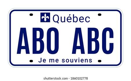 Quebec license number plate registration Canada. New Quebec license metal code
