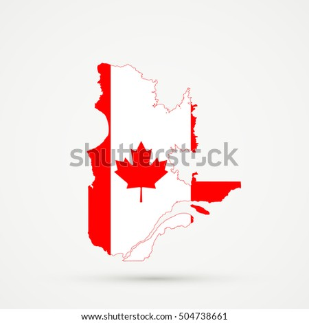 Quebec On Map Of Canada.Quebec Map Canada Flag Colors Editable Stock Vector Royalty Free