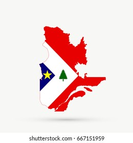Quebec map in New England Acadians flag colors, editable vector.