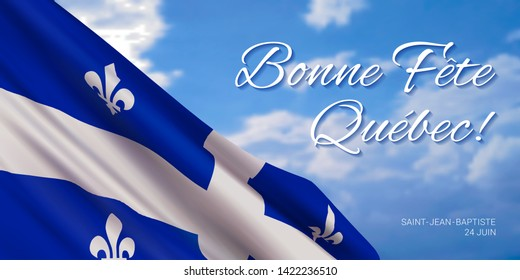 Quebec National Day vector banner design template with flag of Quebec province and text on sky background.Translation from french: Happy Quebec Day!Saint Jean Baptist.June 24th.