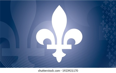 Quebec province of Canada emblem over blue abstract background