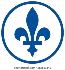 Quebec Sign Fleur De Lis in a Blue Circle, Vector Illustration.