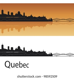 Quebec skyline in orange background in editable vector file