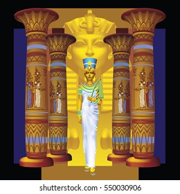 The queen of ancient Egypt and the golden sphinx