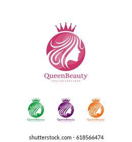 Queen beauty logo / crown woman face silhouette character illustration vector