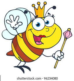 Queen Bee Cartoon Character Waving For Greeting. Vector Illustration.Jpeg version also available