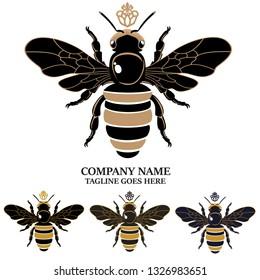 Queen Bee Emblem Vector Design