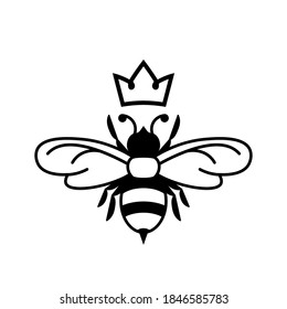 Queen bee glyph icon. Clipart image isolated on white background.