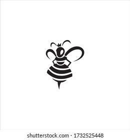 queen bee logo black background white