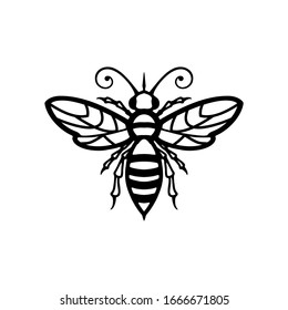 queen bee logo element, elegant bee icon vector isolated