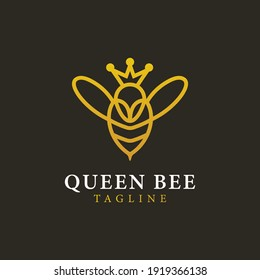 queen bee logo with gold line. looks elegant and simple