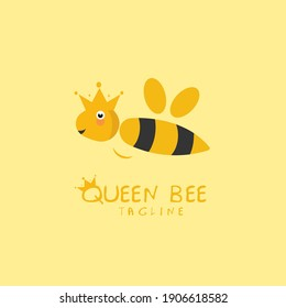 queen bee logo hand drawn for children's products vector illustration