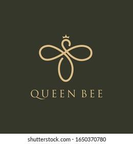 Queen bee logo. Bee honey graphic design template vector illustration