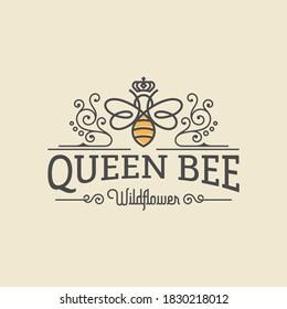 Queen bee luxury logo. Bee honey graphic design template vector illustration