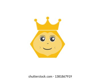 Queen Bees an hexagon bee head smile with crown for logo design vector, insect icon
