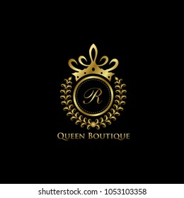 Queen Boutique R Letter Logo, Classy Gold Logo.