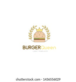 Queen Burger logo with Burger with a queen crown suitable for Restaurant logo