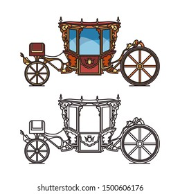 Queen carriage or retro wedding chariot, Coach of Pope Clement XI, vintage buggy or classical victorian horse transport, royal stagecoach or outline of fairytale brougham, perth-cart. Icon of cab
