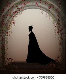 queen in the castle window entwined with red roses liana, lonely princess in castle, vector, secret place