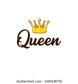 queen crown vector icon isolated on white background. funny girls print for tee or poster with princess crown and text