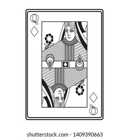 queen of diamonds card icon cartoon black and white vector illustration graphic design