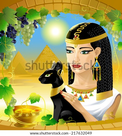 Queen Egypt Egyptian Woman Black Cat Stock Vector Royalty Free